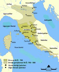 Etrüsk medeniyeti haritası