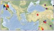 Toskana'da bulunan haplotipler ile Orta Anadolu, Orta Doğu ve Kafkas halklarıyla örtüşenler aynı renklerde gösterilmiştir.